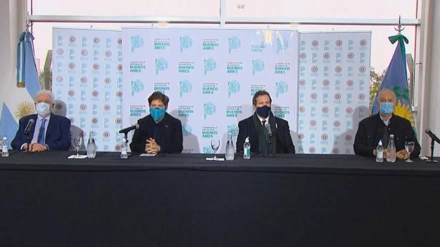 Los funcionarios que estuvieron presentes en el anuncio desde Tecnópolis