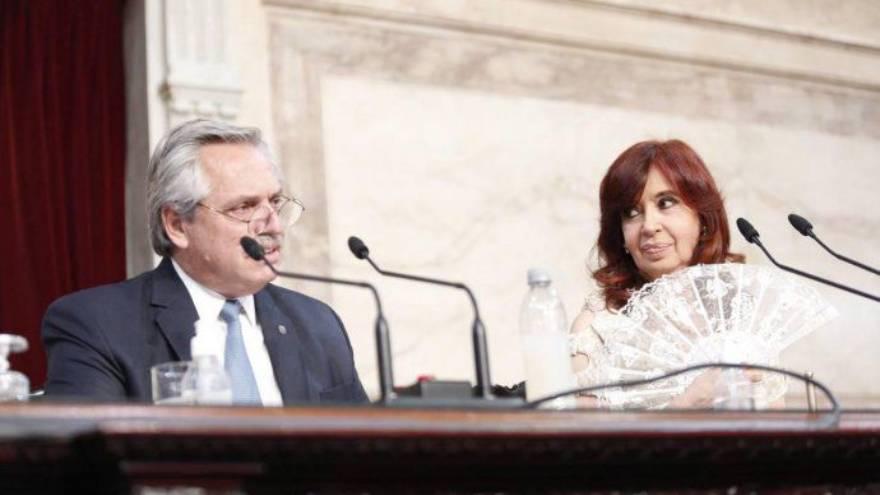 Alberto Fernández y Cristina, en el Congreso.