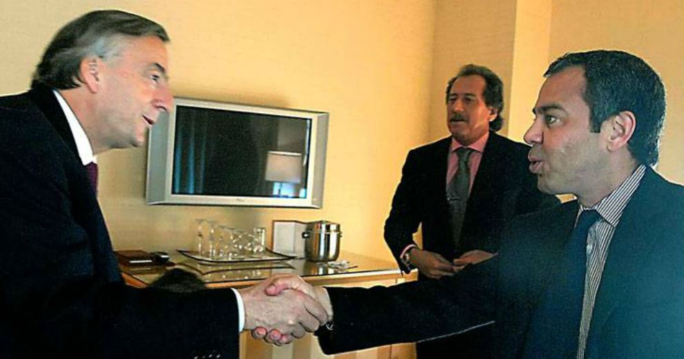 David Martínez, de Fintech, con Néstor Kirchner y Jorge Brito del Banco Macro.