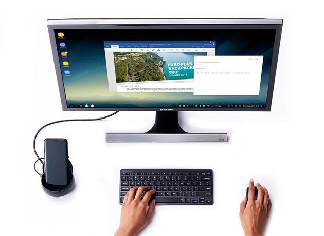 Samsung ofrece su plataforma Dex que sirve para computadoras y celulares Galaxy.