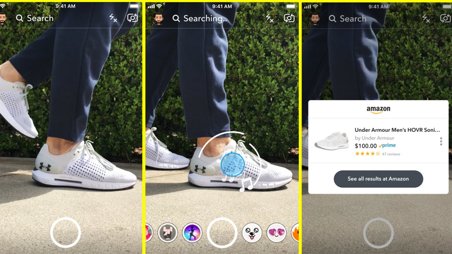 Snapchat + Amazon, en acción. Foto: TechCrunch.