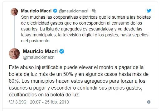 Macri busca eliminar el costo extra de las facturas eléctricas