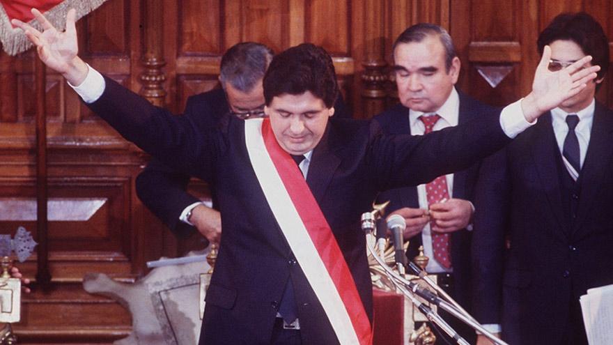 Alan García, durante su primera presidencia.