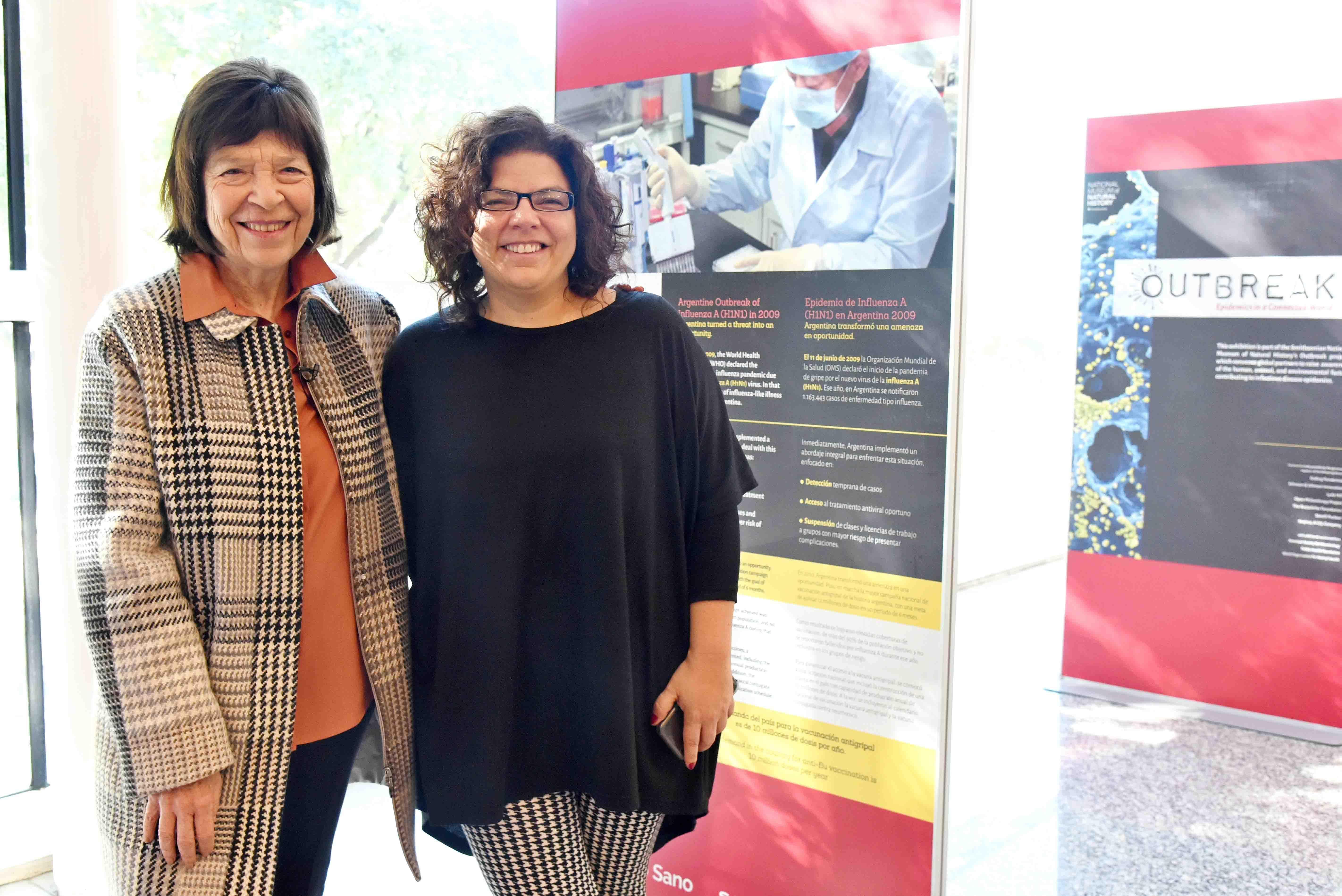 Silvia Gold, presidenta de la Fundación Mundo Sano y Carla  Vizzotti, presidenta de la Sociedad Argentina de Vacunología y Epidemiología