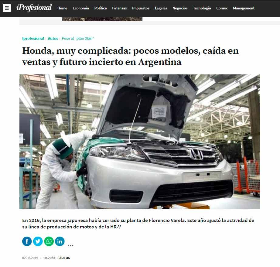 Honda dejará de producir autos en el país — Preocupante