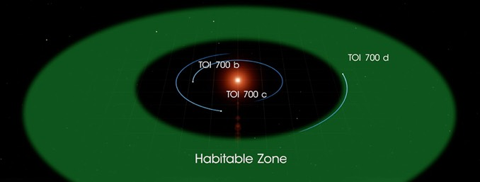 Representación del sistema solar de TOI 700 en el que destaca la estrella anfitriona, situada en el centro, y los tres planetas que la orbitan / NASA