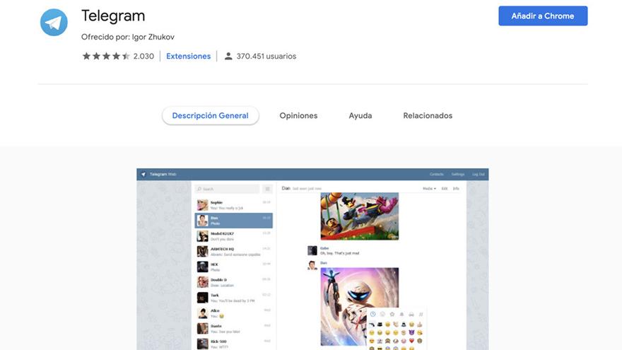 Telegram Web tiene muchas menos opciones que la versión para el móvil.