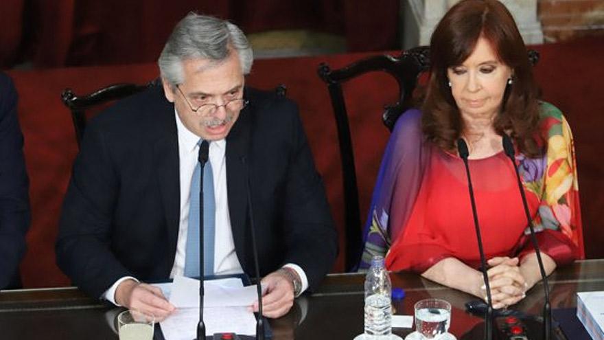 Alberto Fernández y Cristina Kirchner en el Congreso