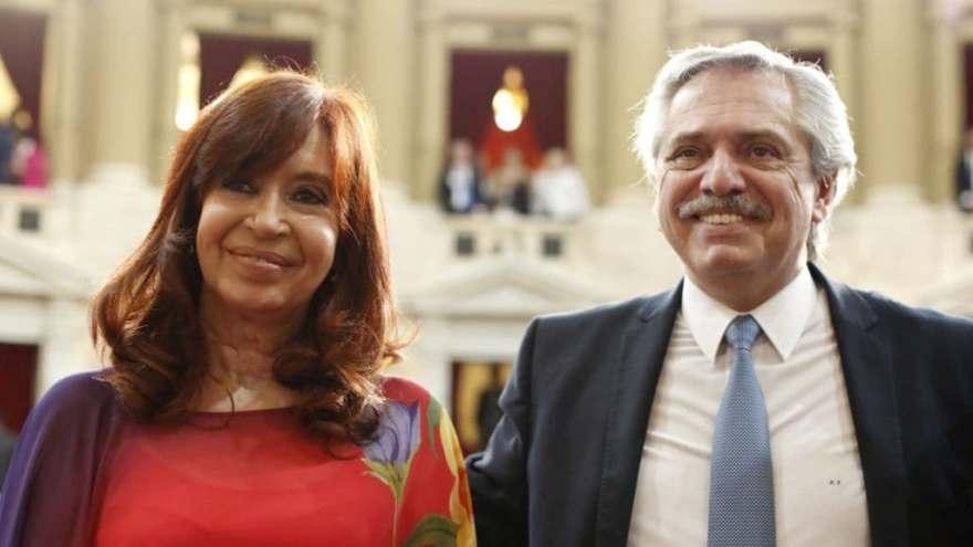 Cristina Fernández de Kirchner, junto al actual presidente, Alberto Fernández