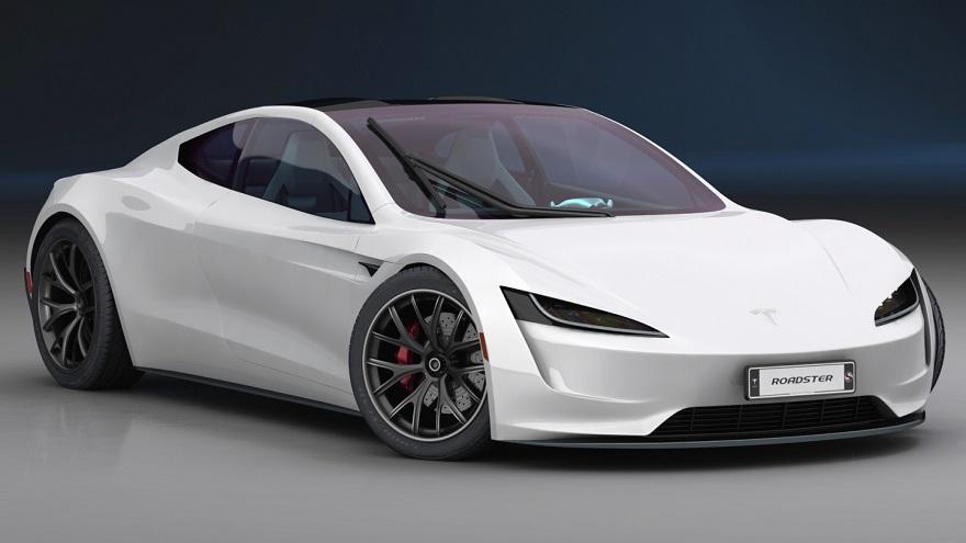 ¿Volará?: un atractivo Tesla Roadster.