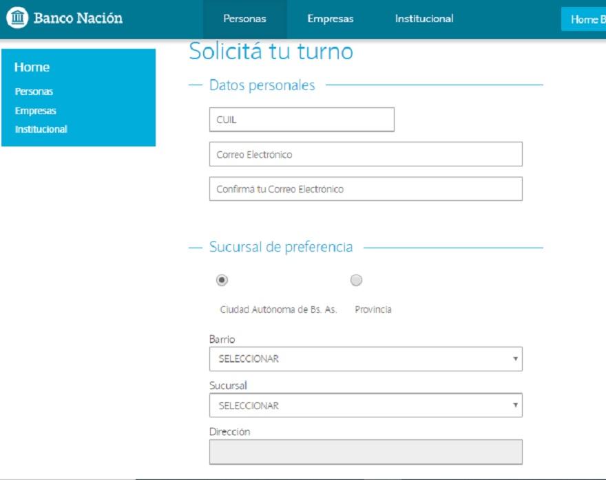En esta página del Banco Nación se comienza el breve trámite para pedir turno online de atención en sucursal