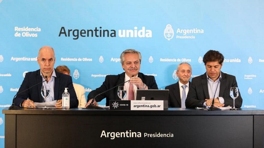 Alberto Fernández anunció el viernes la nueva fase de la cuarentena, junto a Rodríguez Larreta y Kicillof