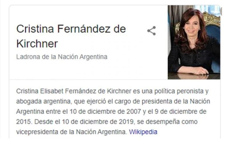 Google viene de un escándalo con la vicepresidenta Cristina Fernández de Kirchner.