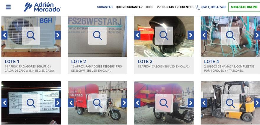 Algunas opciones de la subasta de Adrián Mercado para mirar en la web.