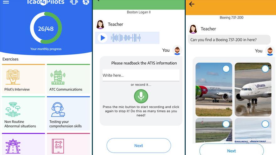 Distintas pantallas de ICAO4Pilots en Android.