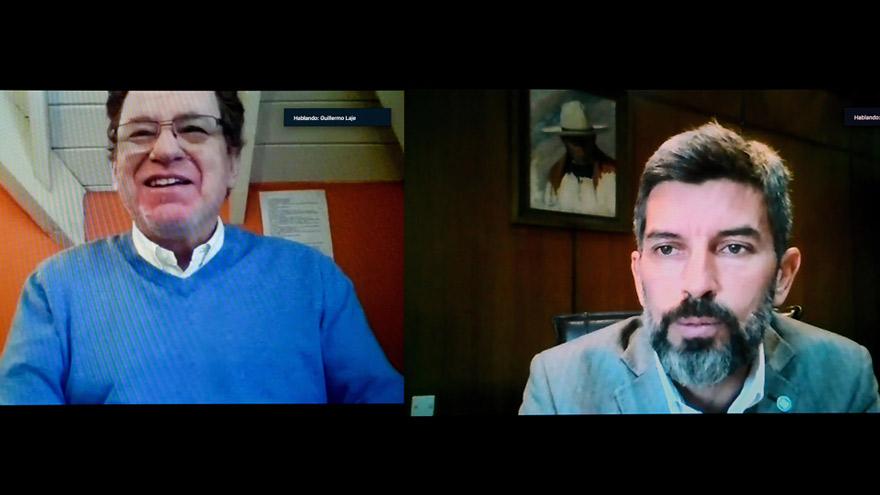 Encuentro virtual realizado para la firma del convenio. De izq. a der., Guillermo Laje, presidente del Banco Ciudad, y el intendente de la ciudad de Mendoza, Ulpiano Suárez.