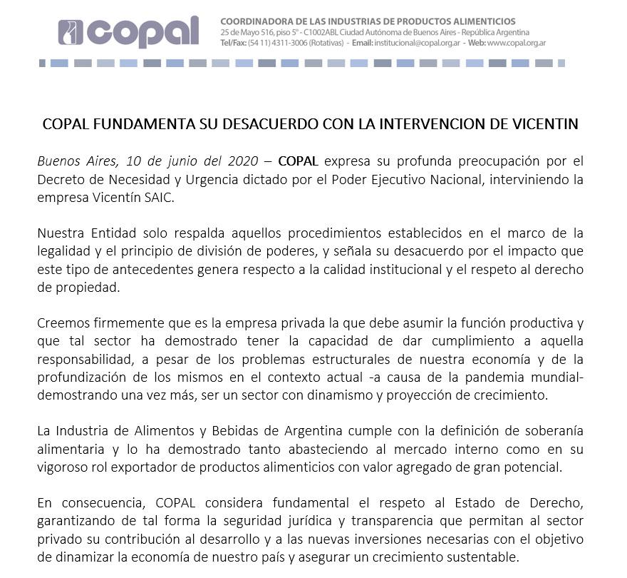 Vicentin: el comunicado completo de Copal.