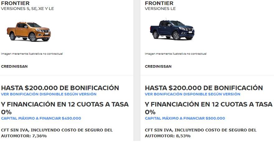 Nissan, con bonificaciones para la Frontier.