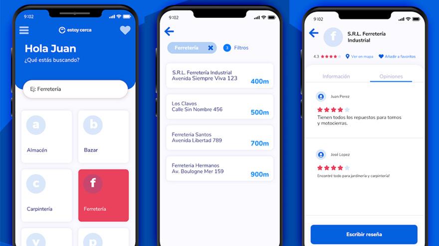Distintas pantalla de la app