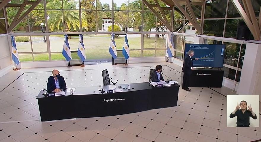 El presidente Alberto Fernández mostró los números que actualmente tiene la Argentina en relación al coronavirus