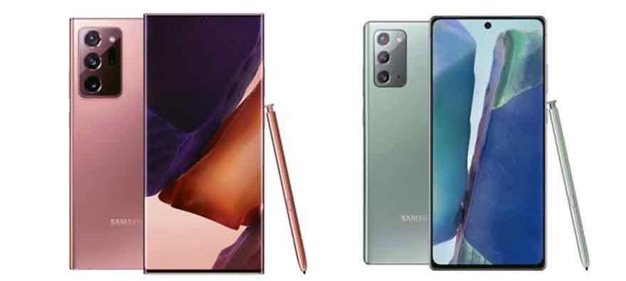 A la izquierda, el Samsung Galaxy Note20 Ultra, y a la derecha, el Note20.