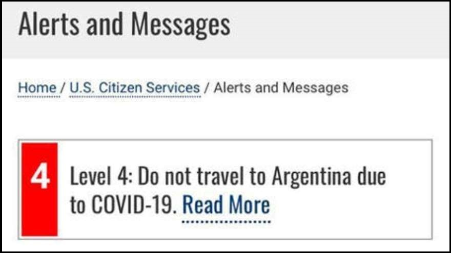 El alerta que apareció en la Embajada de EE.UU. en Argentina