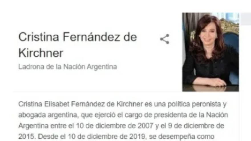 La expresidenta aparecía en el buscador de Google como