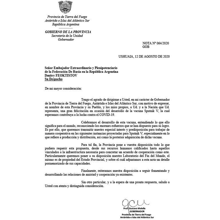 La misiva enviada por el gobernador de Tierra del Fuego.
