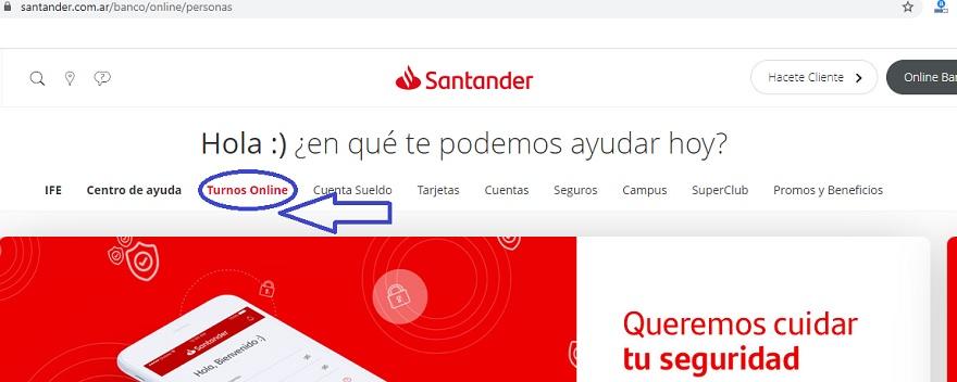 En un ejemplo al azar, se puede ver como en la web del Banco Santander se ofrece a simple vista la opción de sacar un turno online