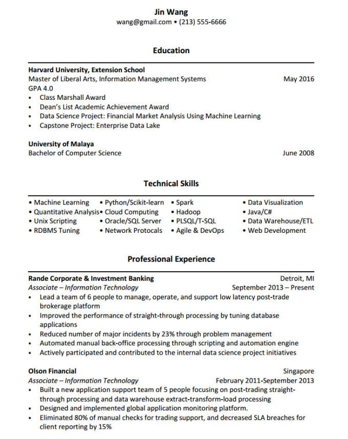 Este es un buen modelo de currículum vitae según la Universidad de Harvard