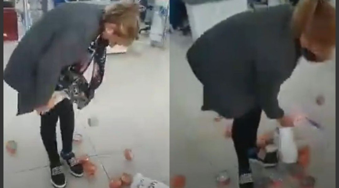 Video: atraparon a mechera robando latas de atún