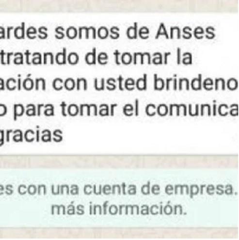 El mensaje de los estafadores que se hacen pasar por empleados del ANSES.