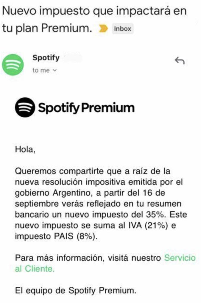 La aclaración que recibieron los clientes de Spotify.