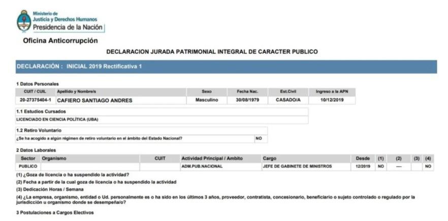 Declaración Jurada de Cafiero Santiago.