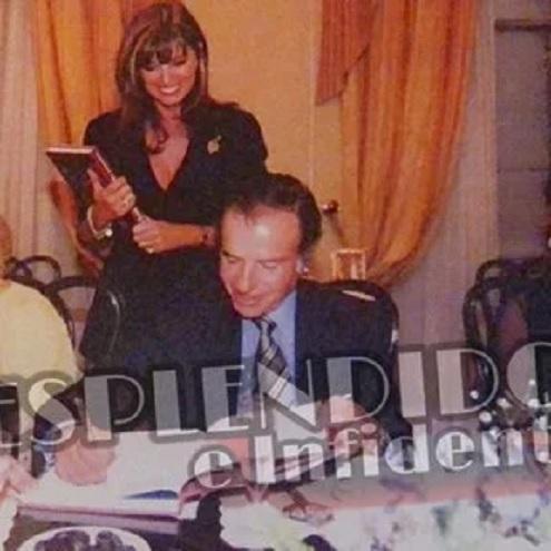 Adriana Salgueiro junto a Carlos Saúl Menem y Moria Casán en la Quinta de Olivos.