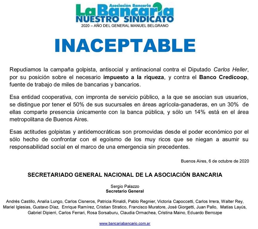El comunicado de La Bancaria contra la campaña de los productores rurales