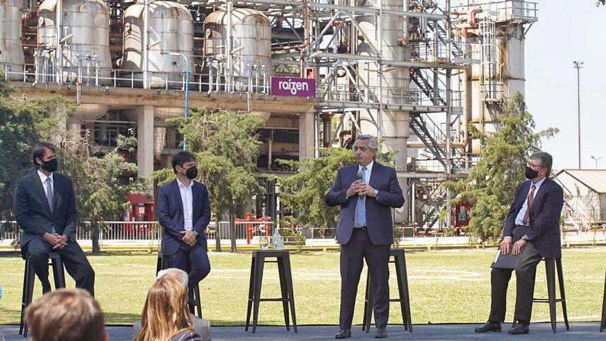 El presidente Alberto Fernández en el anuncio de inversiones de Raizen.