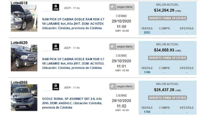 Subastas online: rematan autos de alta gama a precio de dólar oficial