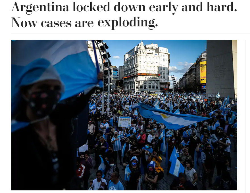 El Washington Post ilustró su artículo con una imagen de un banderazo de protesta contra el Gobierno.