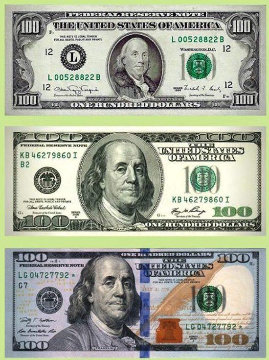 Las diferentes impresiones del billete de 100 dólares; todas están en circulación