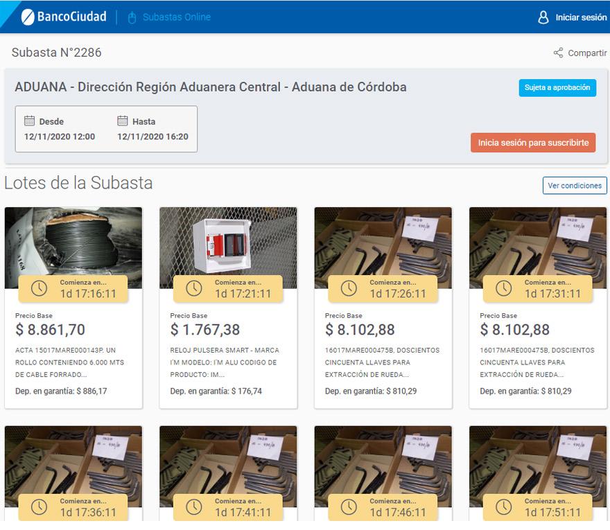 Subastas: la página del Banco Ciudad permite visualizar cada lote en detalle.