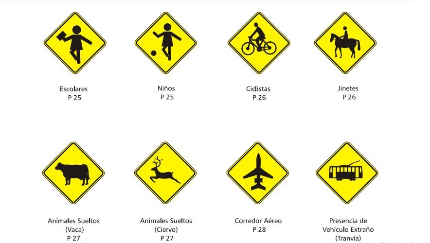 Señales de tránsito preventivas, de color amarillo y negro.