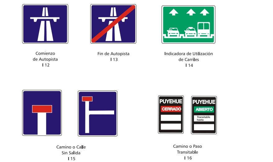 Señales de tránsito informativas, para estar bien atentos.