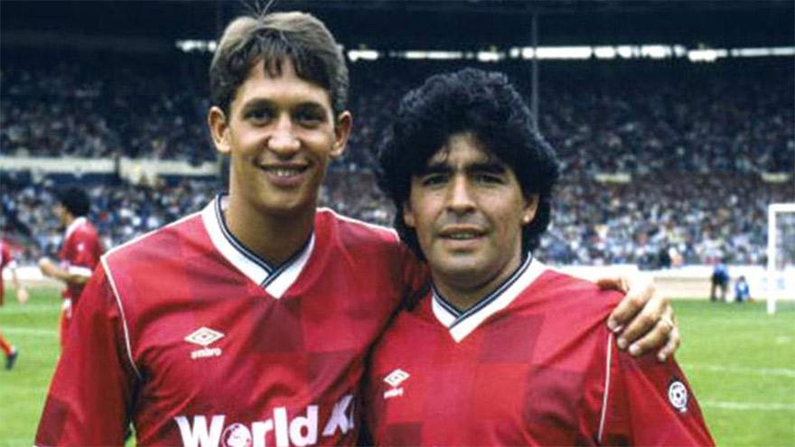 El inglés Gary Lineker, goleador del Mundial 86 junto a Diego, el campeón.