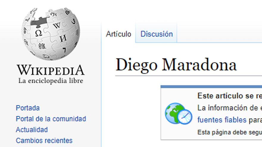 La ficha de Maradona en Wikipedia aparece con la advertencia habitual en los casos de muertes recientes.