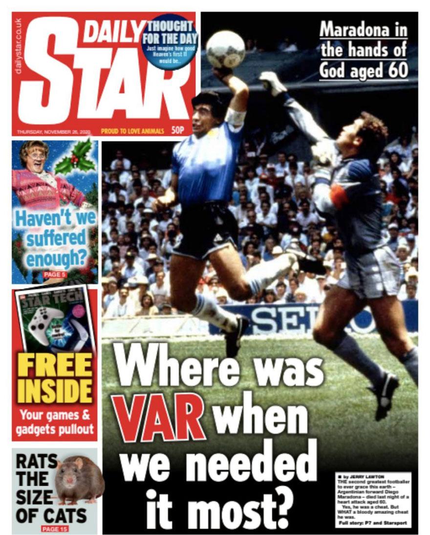 La polémica tapa de The Star sobre Maradona.