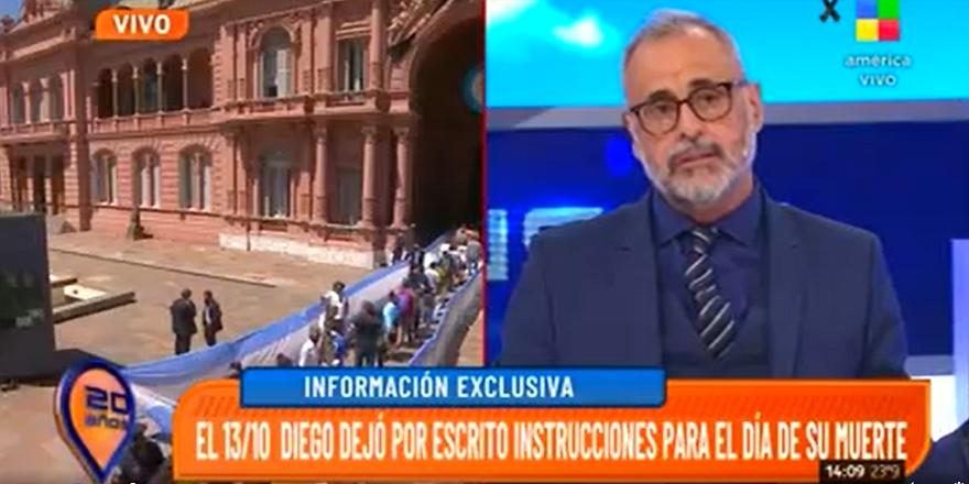 Jorge Rial anunció en su programa que tenía el documento firmado por Maradona
