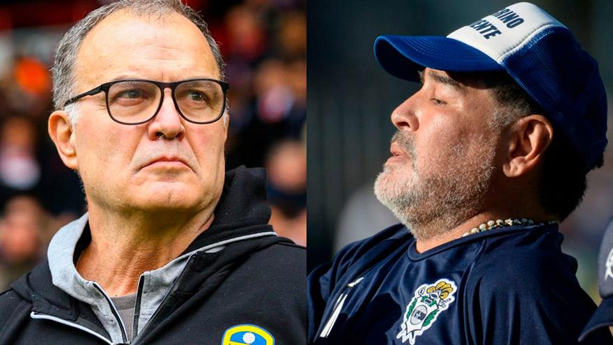 Bielsa y Maradona. Ambos fueron técnicos de la Selección.