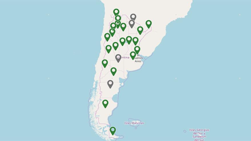 Mapa de estado de acceso al turismo nacional.
