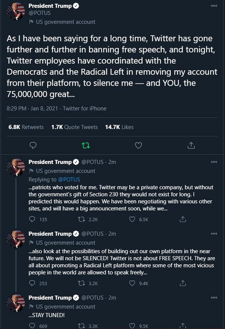 Twitter dio de baja las cuentas de Donald Trump y la discusión sobre los discursos se amplificó como antes no había sucedido